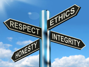 Respect Ethics Honest Integrity Signpost Meaning Good Qualities